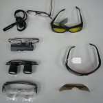 Various optic glasses displayed