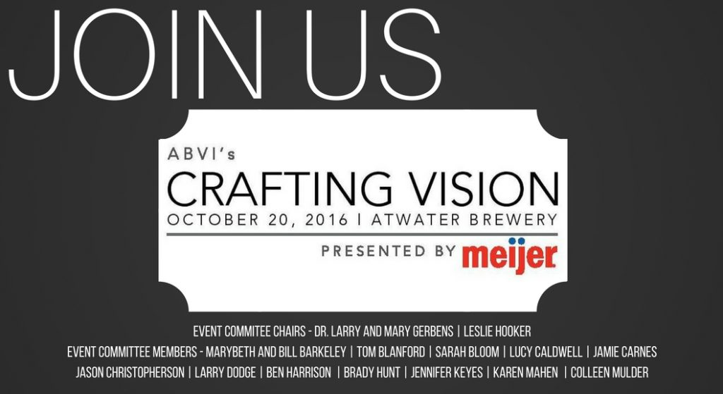 Join us on October 20 for ABVI's Crafting Vision at Atwater Brewery