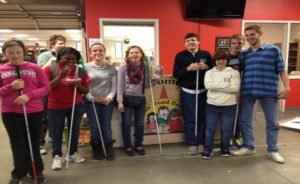 Students at community volunteering opportunity