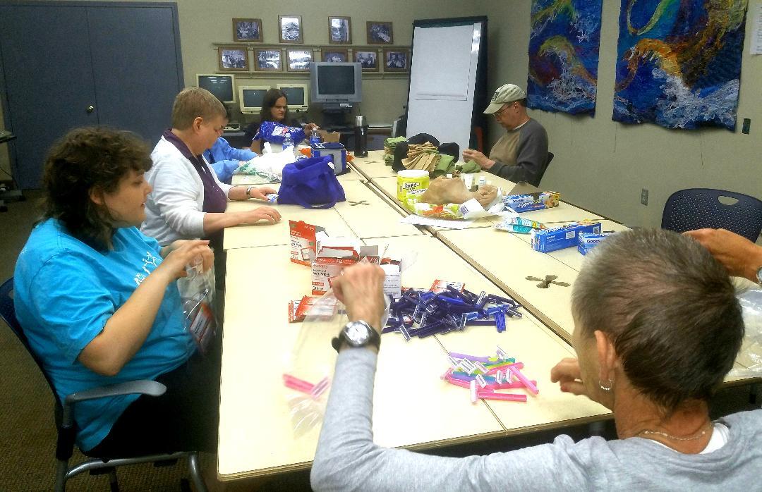 Assembling VA Hygiene Bags 6