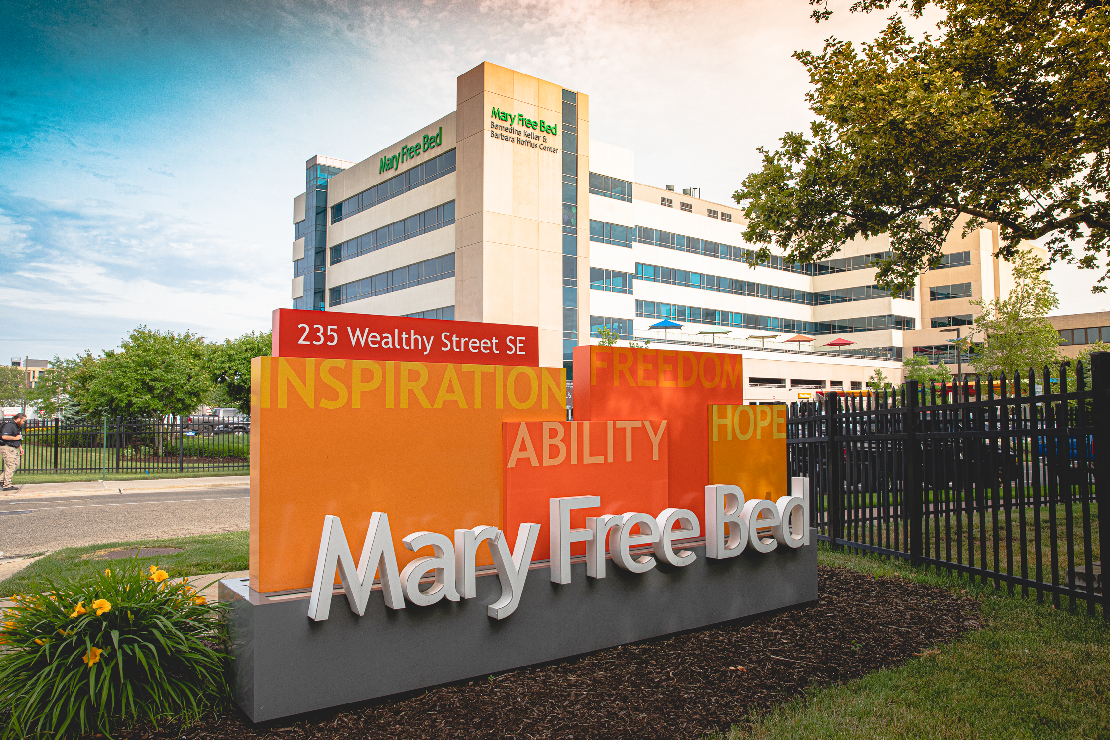 The front sign of Mary Free Bed Rehabilitation Hospital